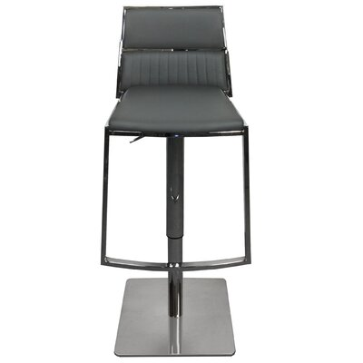 Stanley Adjustable Height Swivel Bar Stool with Cushion Upholstery: Gray