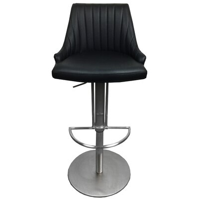Monroe Adjustable Height Swivel Bar Stool with Cushion Upholstery: Black