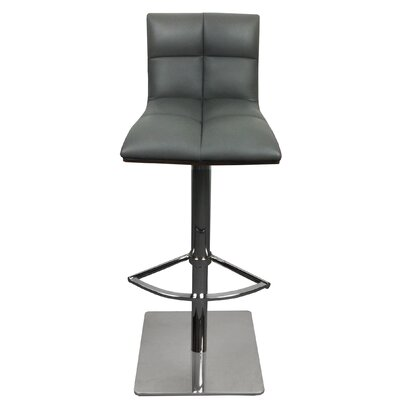 The Quilt Adjustable Height Swivel Bar Stool with Cushion Upholstery: Gray