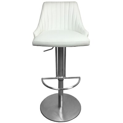 Monroe Adjustable Height Swivel Bar Stool with Cushion Upholstery: White