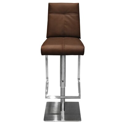 Castillo Adjustable Height Swivel Bar Stool with Cushion Upholstery: Brown
