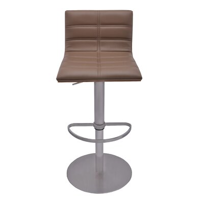 Sydney Adjustable Height Swivel Bar Stool with Cushion Upholstery: Taupe