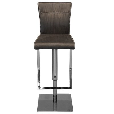 Adjustable Height Swivel Bar Stool with Cushion Upholstery: Gray
