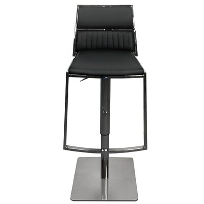 Stanley Adjustable Height Swivel Bar Stool Upholstery: Black