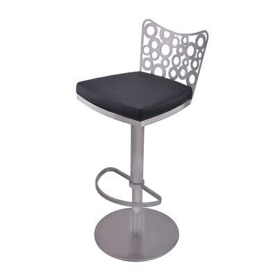 Jester Adjustable Height Swivel Bar Stool with Cushion Upholstery: Black