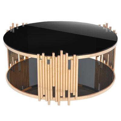 Mauris Round Coffee Table with Magazine Rack Color: Rose Gold