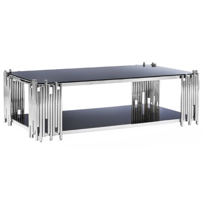 Mauris Rectangular Coffee Table with Magazine Rack Finish: Polished Silver