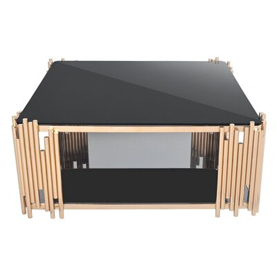Mauris Square Coffee Table with Magazine Rack Color: Rose Gold