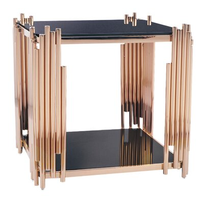 Mauris Square End Table Finish: Rose Gold