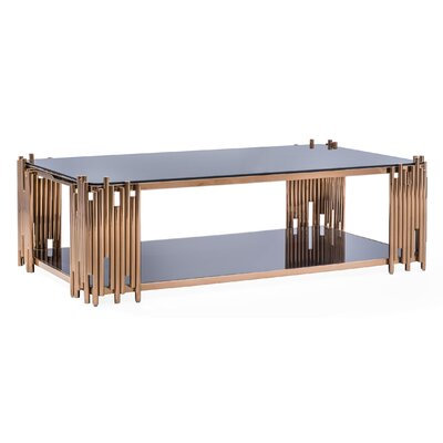 Mauris Rectangular Coffee Table with Magazine Rack Color: Rose Gold