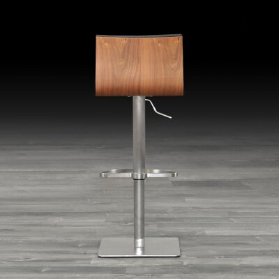 Adjustable Height Swivel Bar Stool Finish: Walnut, Upholstery: Gray