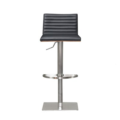 Adjustable Height Swivel Bar Stool with Cushion Finish: Black, Upholstery: Black