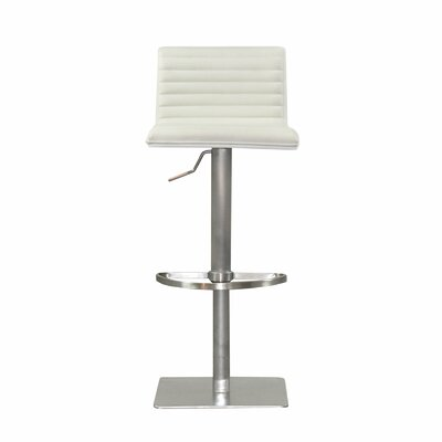 Adjustable Height Swivel Bar Stool with Cushion Upholstery: White, Finish: White