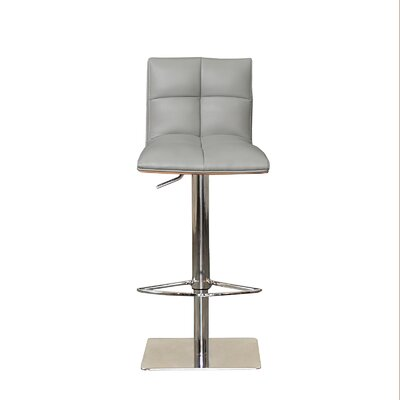 The Quilt Adjustable Height Swivel Bar Stool Upholstery: Gray