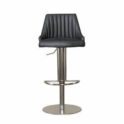 Monroe Adjustable Height Swivel Bar Stool Upholstery: Black