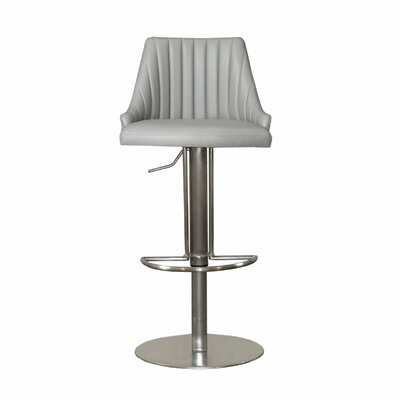 Monroe Adjustable Height Swivel Bar Stool with Cushion Upholstery: Light Gray