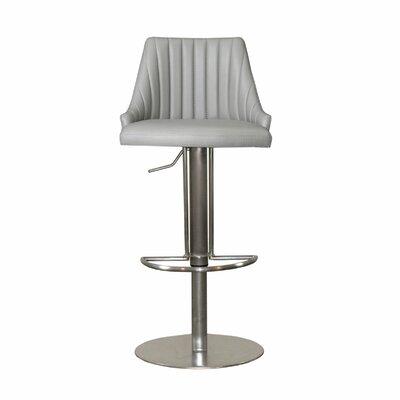 Monroe Adjustable Height Swivel Bar Stool Upholstery: Light Gray