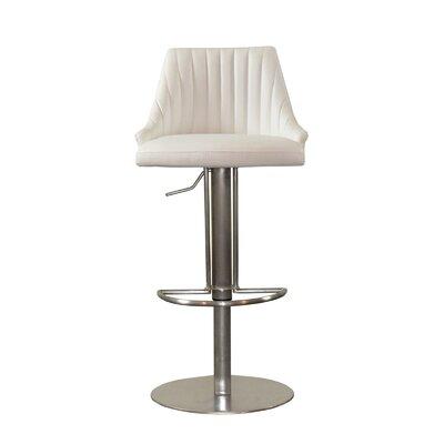 Monroe Adjustable Height Swivel Bar Stool Upholstery: White