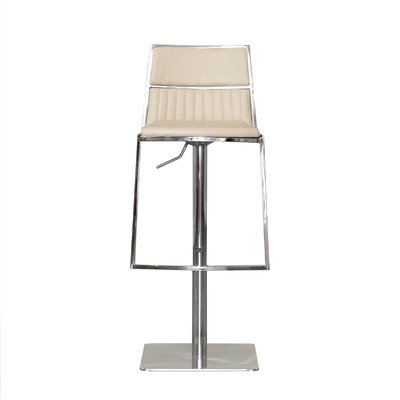 Stanley Adjustable Height Swivel Bar Stool with Cushion Upholstery: Beige