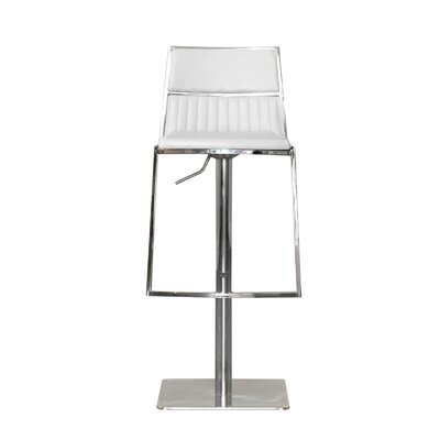 Stanley Adjustable Height Swivel Bar Stool with Cushion Upholstery: White