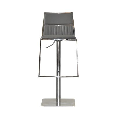 Stanley Adjustable Height Swivel Bar Stool Upholstery: Gray