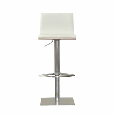 Folia Adjustable Height Swivel Bar Stool with Cushion Upholstery: White
