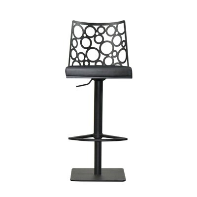 Levine Adjustable Height Swivel Bar Stool Upholstery: Black, Finish: Black