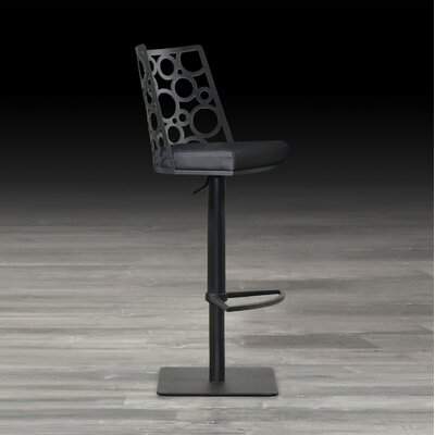 Levine Adjustable Height Swivel Bar Stool with Cushion Upholstery: Camel, Finish: Champaign