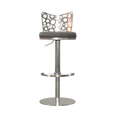 Jester Adjustable Height Swivel Bar Stool with Cushion Upholstery: Gray