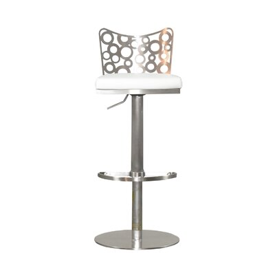 Jester Adjustable Height Swivel Bar Stool Upholstery: White