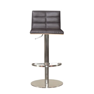 Sydney Adjustable Height Swivel Bar Stool Upholstery: Brown