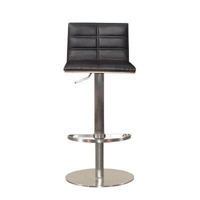 Sydney Adjustable Height Swivel Bar Stool Upholstery: Black