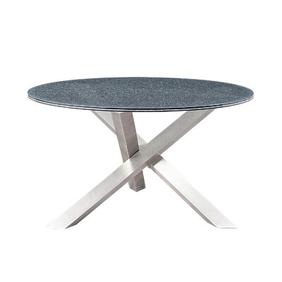 Dom Dining Table Base Finish: Polished Stainless Steel, Top Finish: Smoked Crackled Glass