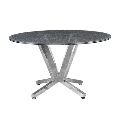 Costa Dining Table Base Finish: Brushed Stainless Steel, Top Finish: Clear Crackled Glass