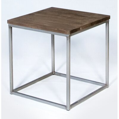Side Cubic Vintage End Table Finish: Brown/Gray