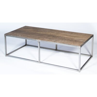 Rectangular Vintage Coffee Table Base Finish: Gray, Top Finish: Natural