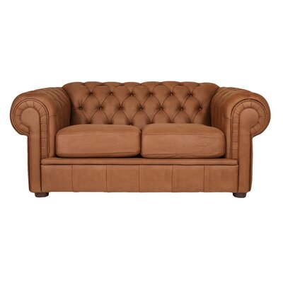 Alexa III Chesterfield Loveseat Upholstery: Chestnut