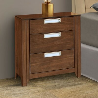 Solar 3 Drawer Nightstand Color: Espresso