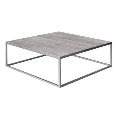 Square Vintage Coffee Table Base Color: Silver, Top Color: Vintage White