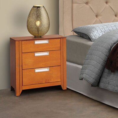 Solar 3 Drawer Nightstand Finish: Cinnamon