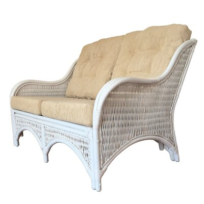 Karmen Rattan Wicker Loveseat Finish: White