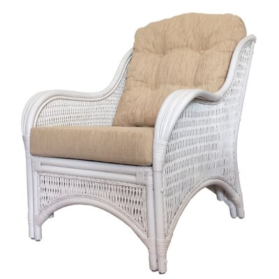 Karmen Rattan Wicker Armchair Finish: White