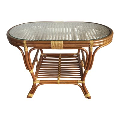 Alisa Rattan Coffee Table with Magazine Rack Color: Light Brown