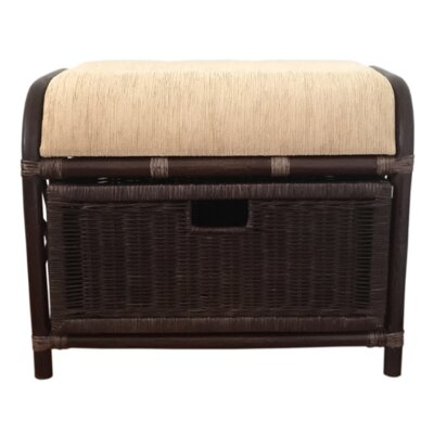 Jerry Rattan Wicker Storage Ottoman Finish: Dark Brown