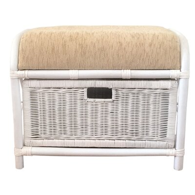 Jerry Rattan Wicker Storage Ottoman Finish: White