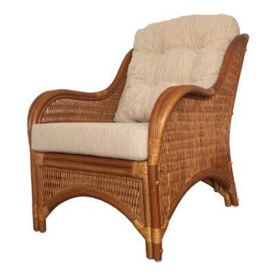 Karmen Rattan Wicker Armchair Finish: Light Brown