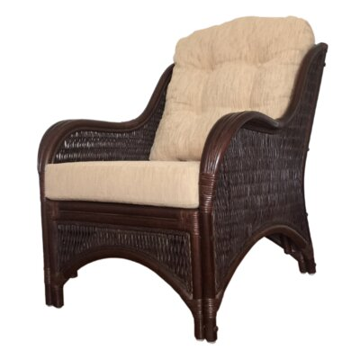 Karmen Rattan Wicker Armchair Finish: Dark Brown