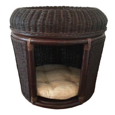 Pets Rattan Wicker House Hooded Dog Bed Color: Dark Brown