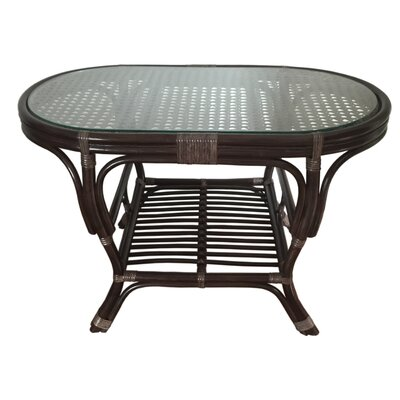 Alisa Rattan Coffee Table with Magazine Rack Finish: Dark Brown