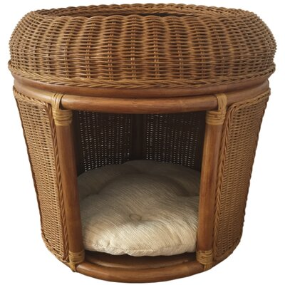 Pets Rattan Wicker House Hooded Dog Bed Color: Light Brown